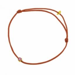 Bracelet cordon rouge en or jaune serti de Swarovski Zirconia