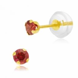Boucles d'oreilles en or jaune serties de Swarovski Zirconia rouge foncé