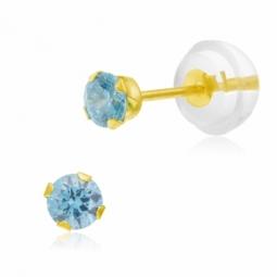 Boucles d'oreilles en or jaune serties de Swarovski Zirconia bleu clair
