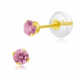 Boucles d'oreilles en or jaune serties de Swarovski Zirconia rose