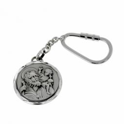 Porte clé Saint-Christophe en argent rhodié
