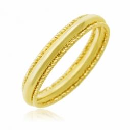 Bague en or jaune, bords striés