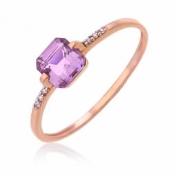 Bague en or rose rhodié, améthyste et diamants