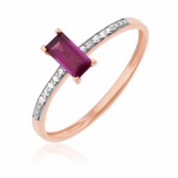 Bague en or rose rhodié, rhodolite et diamants