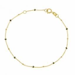 Bracelet en or jaune et laque pailletée noire