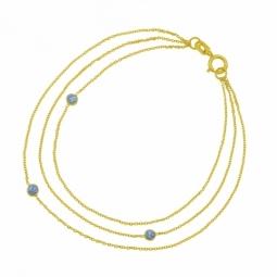 Bracelet en or jaune et laque pailletée grise