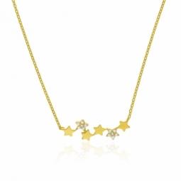 Collier en or jaune et oxydes de zirconium,étoiles