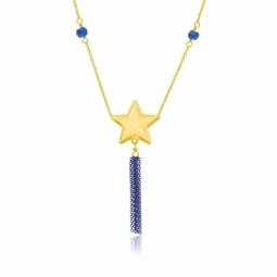 Collier en or jaune et rhodié bleu, oxydes de zirconium bleus