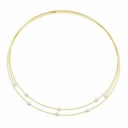 Collier câbles en or jaune et titane, perles de culture