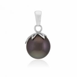 Pendentif en or gris et perle de culture de Tahiti 9-10 mm