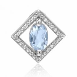 Pendentif en or gris, aigue marine et diamants