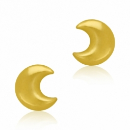 Boucles d'oreilles en or jaune, lune