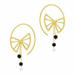 Boucles d'oreilles en or jaune et onyx