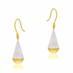 Boucles d'oreilles en or jaune et laque pailletée blanche