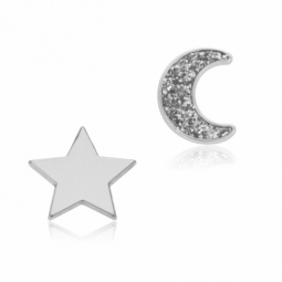 Boucles d'oreilles en or gris et laque pailletée, étoile et lune