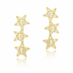 Boucles d'oreilles en or jaune et oxydes de zirconium, étoiles