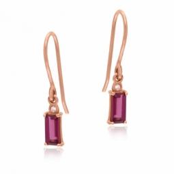 Boucles d'oreilles en or rose, rhodolite et diamant