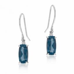 Boucles d'oreilles en or gris,cristaux de synthèse bleu et blancs