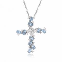 Collier en argent rhodié, oxydes de zirconium blancs et bleus