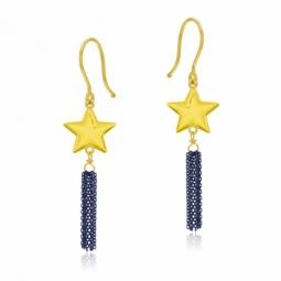 Boucles d'oreilles en or jaune et rhodié bleu