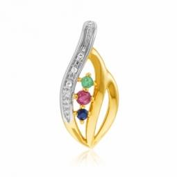 Pendentif or jaune rhodié, saphir, rubis, émeraude et diamants