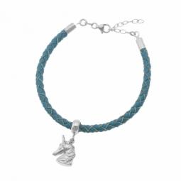 Bracelet en argent rhodié, cuir et oxydes de zirconium, licorne