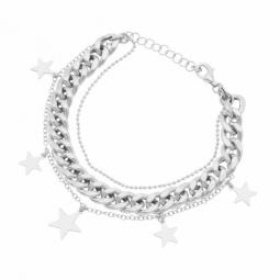 Bracelet en argent rhodié, multi chaînes, étoiles