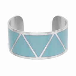 Bracelet jonc en acier et laque bleue