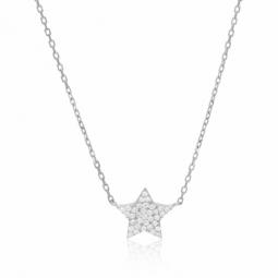 Collier en argent rhodié et oxydes de zirconium, étoile