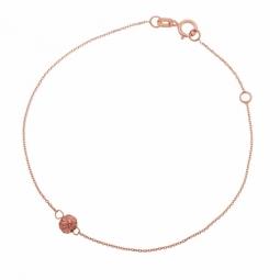 Bracelet en or rose et boule laque pailletée rose