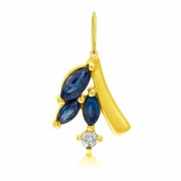 Pendentif en or jaune, saphirs et diamant