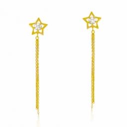 Boucles d'oreilles en or jaune serties de Swarovski Zirconia