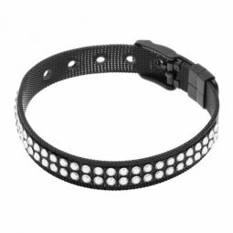 Bracelet en acier noir et cristaux de synthèse