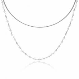 Collier en argent rhodié et perles synthétiques