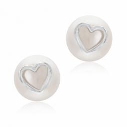 Boucles d'oreilles en argent rhodié et perle de culture, coeur