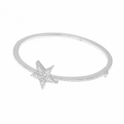 Bracelet jonc en argent rhodié, oxydes de zirconium, étoile