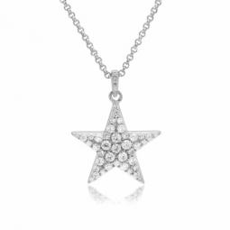 Collier en argent rhodié, oxydes de zirconium, étoile
