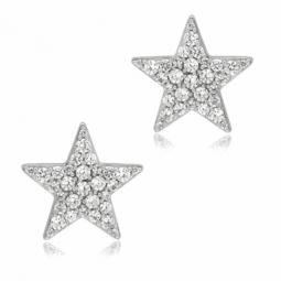 Boucles d'oreilles en argent rhodié, oxydes de zirconium, étoile