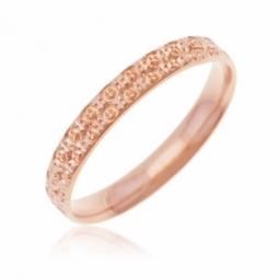 Alliance en or rose,  perlée 3 mm