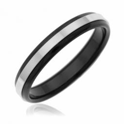 Alliance en or gris et black zircon, 4 mm