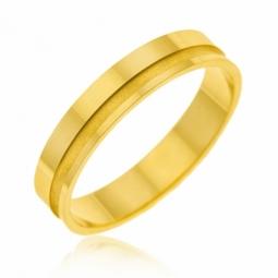 Alliance en or jaune et mate, 4 mm
