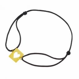 Bracelet cordon en or jaune, coeur