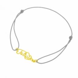 Bracelet cordon en or jaune, je t'aime