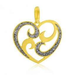 Pendentif en or jaune et laque pailletée, coeur