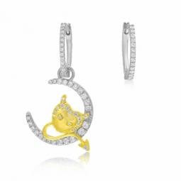 Boucles d'oreilles en argent rhodié et doré, oxydes de zirconium