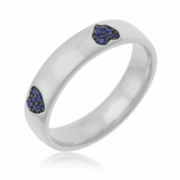 Bague en argent rhodié et rhodié noir , oxydes de zirconiums bleus