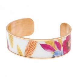 Bracelet jonc en acier rose, motif imprimé
