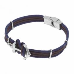 Bracelet en acier, fils polyester marron et bleu, ancre