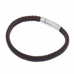 Bracelet en acier, cuir marron et bleu