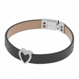 Bracelet en acier et cuir noir, coeur